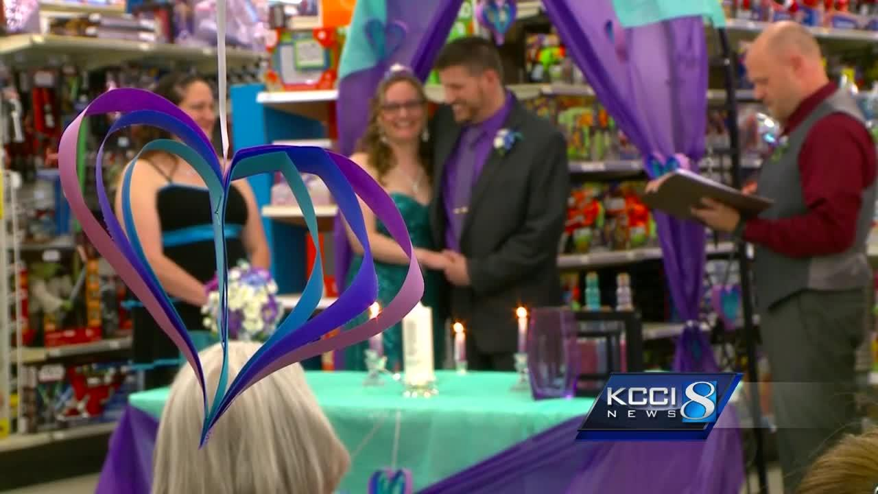 Couple ties the knot in toy aisle where they first met