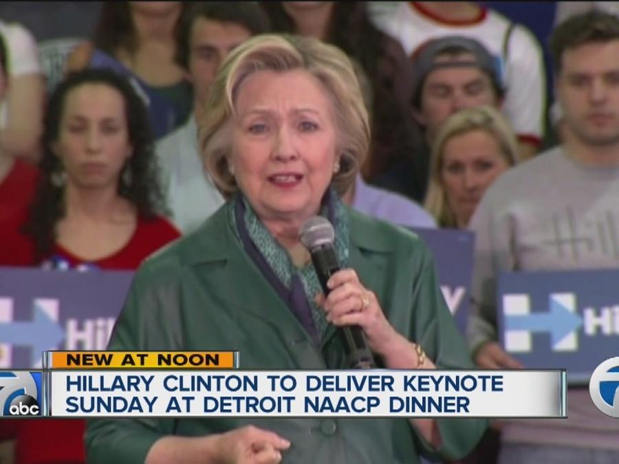 Hillary Clinton to deliver keynote Sunday at Detroit NAACP dinner