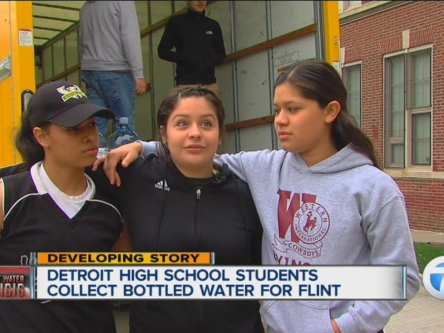 Detroit High School students collect bottled water for Flint