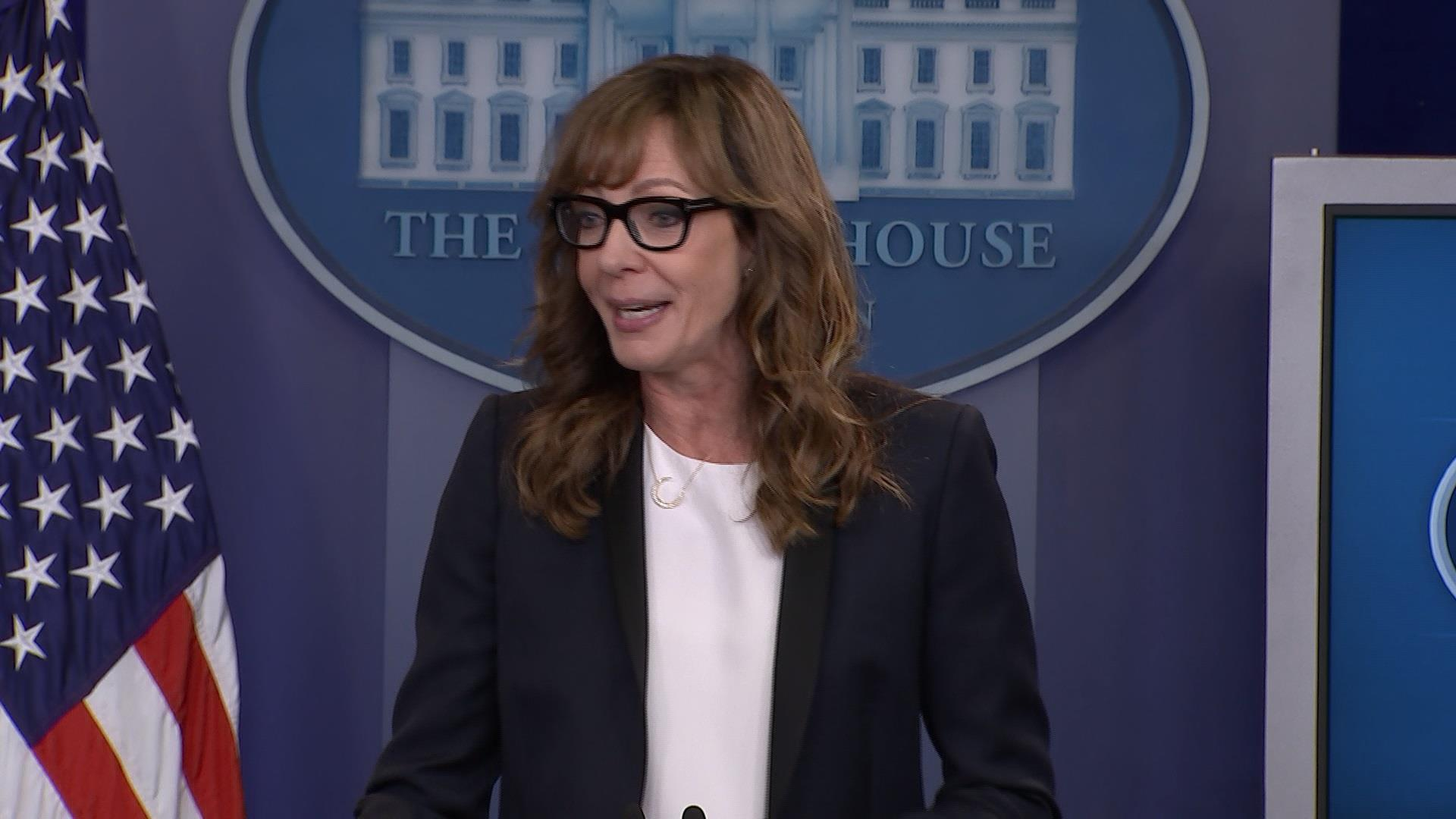 Allison Janney surprises press at WH briefing
