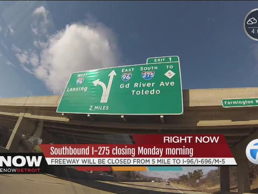 Southbound I-275 closing Monday morning