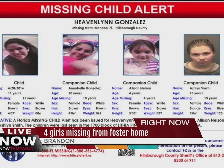 Four missing and endangered young girls, ages 4 to 13 years old, from Brandon area