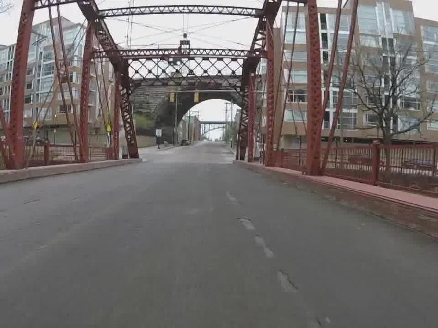 Why are cars flipping over on the Center Street Swing Bridge in Cleveland?