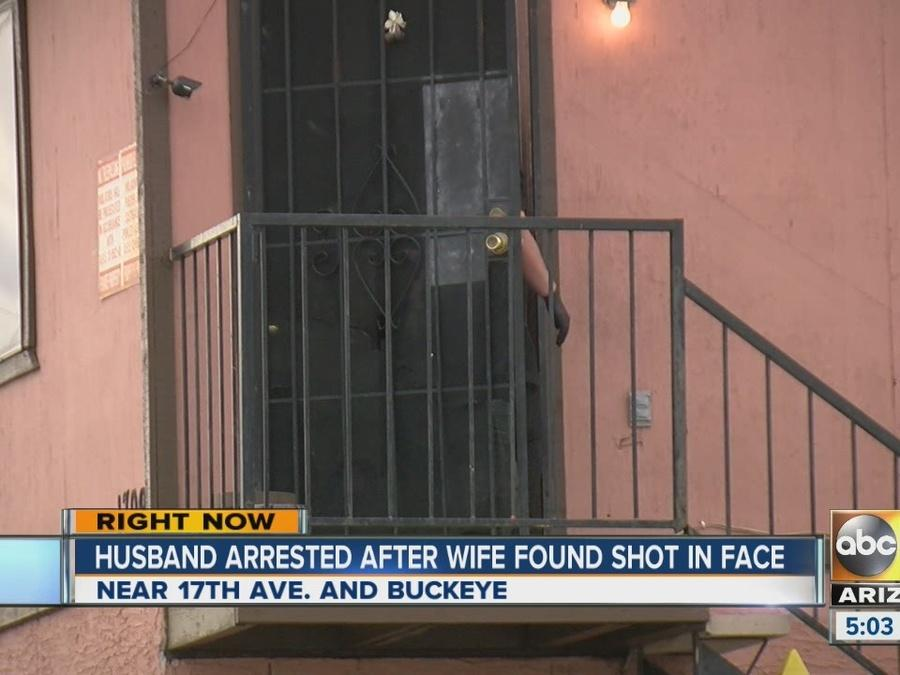Husband arrested after wife found shot in face