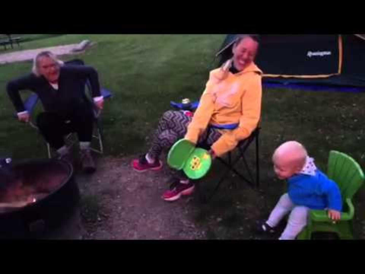 Grandma Falls through Chair
