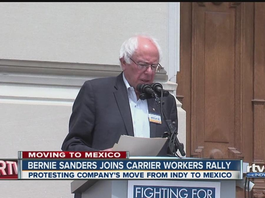 Bernie Sanders joins Carrier workers rally