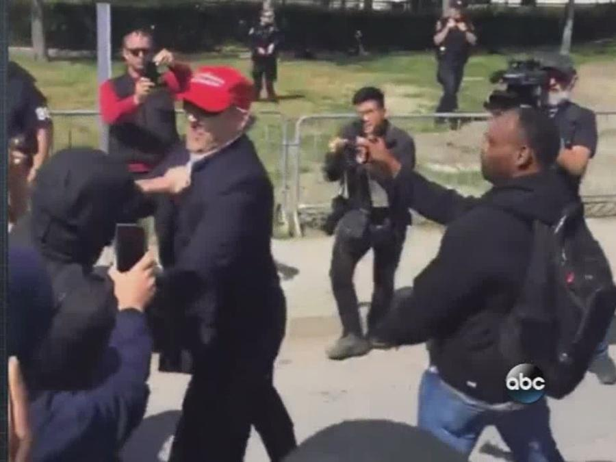 ABC World News Tonight - Mob Crowd Protests Trump