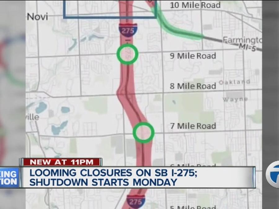 Southbound I-275 closes between 5 Mile and I-96/I-696/M-5 on Monday, May 2