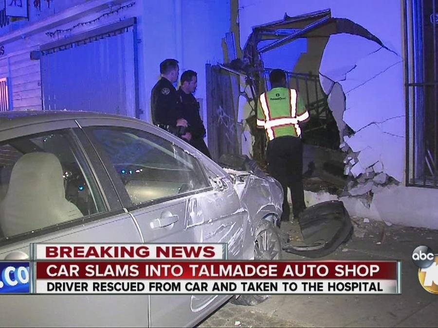 Car slams into Talmadge auto shop