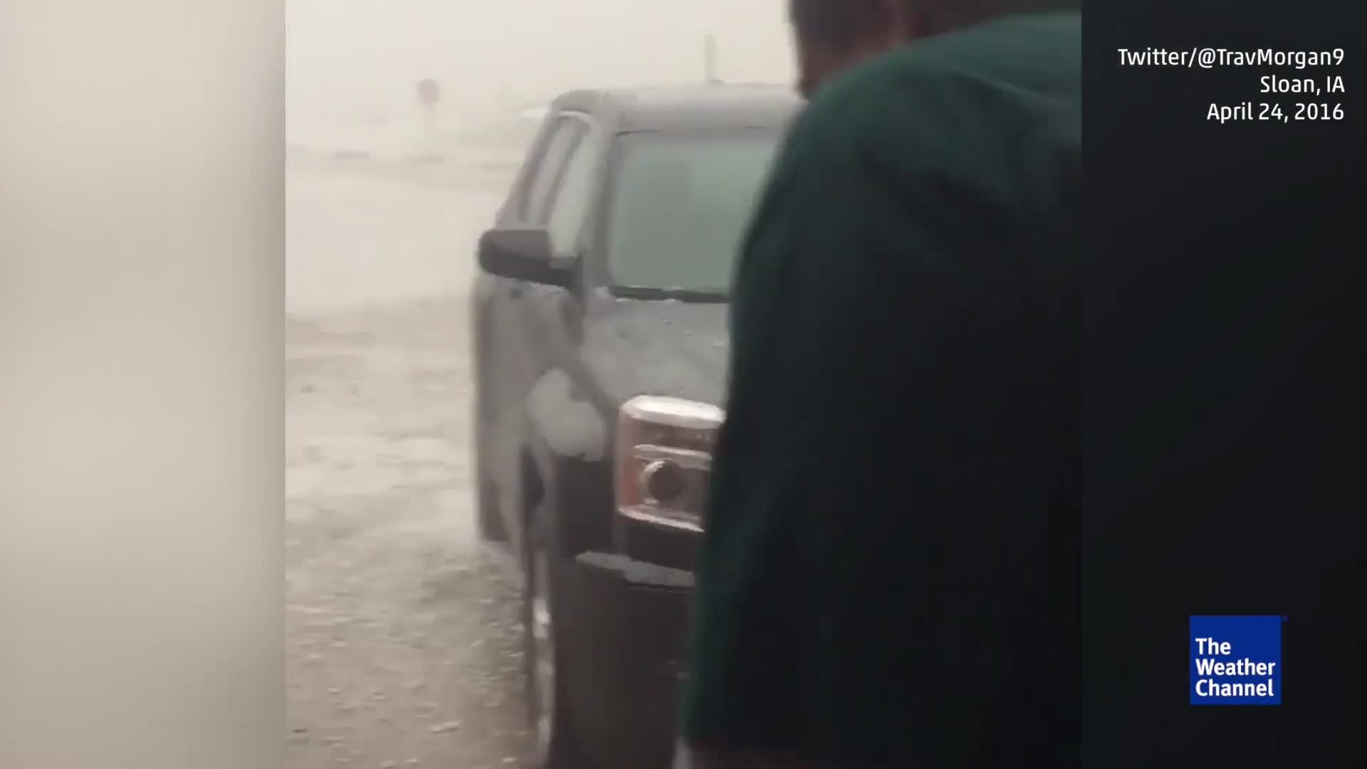 Hailstones Falling Hard in Sloan, Iowa