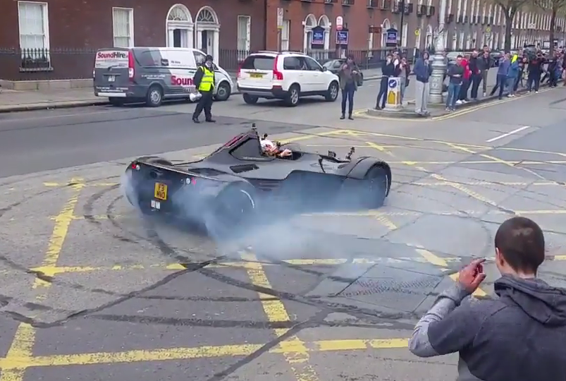 Racing Driver Oliver Webb Pulls Donuts as Gumball Rally Kicks Off in Dublin