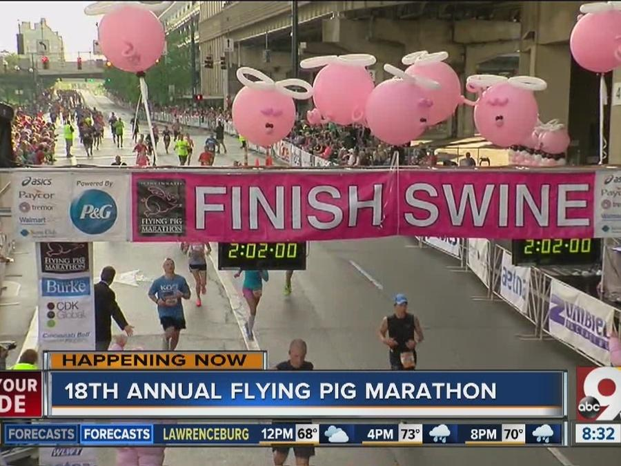 "Runners on their way -- some already made it -- to ""the Finish Swine"" at the Flying Pig"