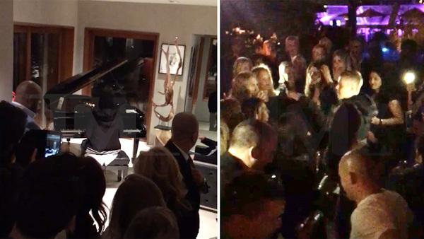 Justin Bieber -- Performs at Bizarre Engagement Party for Dad