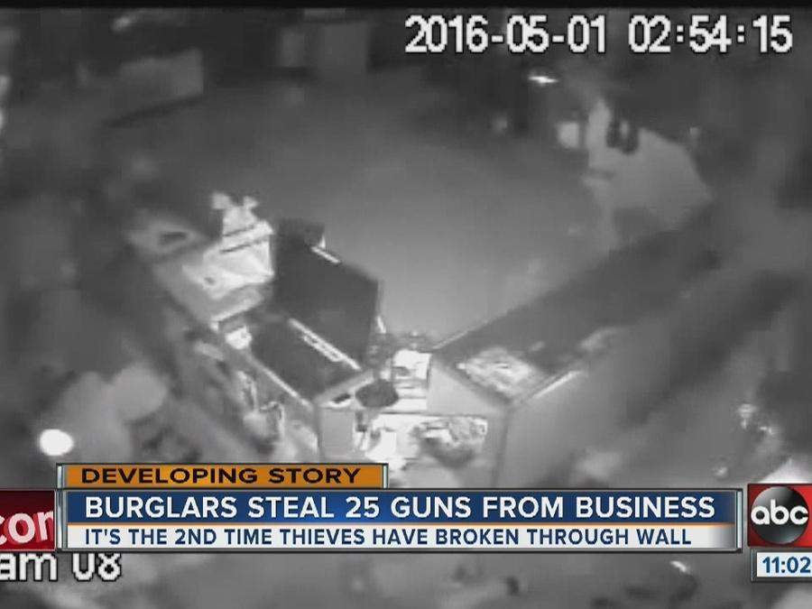 Burglar steals 25 guns from business