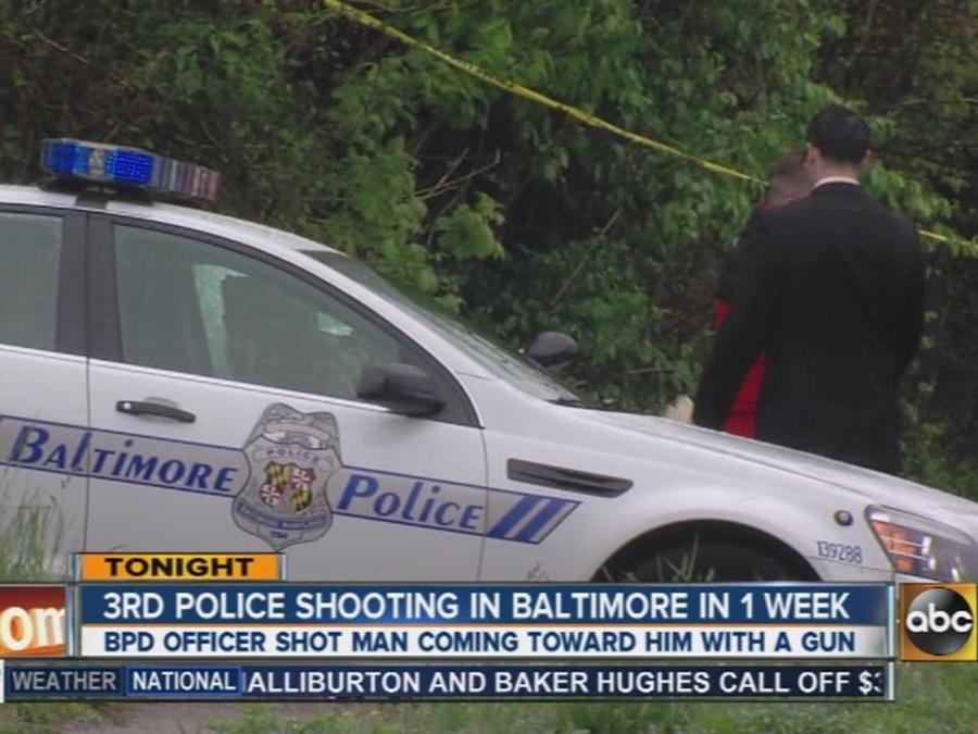 Baltimore City Police officer shots man coming toward him with a gun