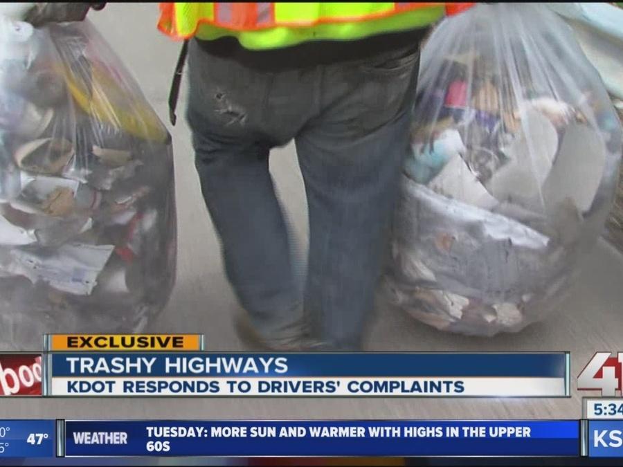 KDOT struggling to keep up with growing trash problem along KS highways
