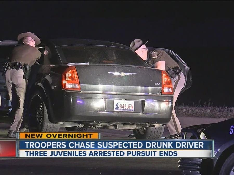 Troopers chase suspected drunk drivers, three arrested