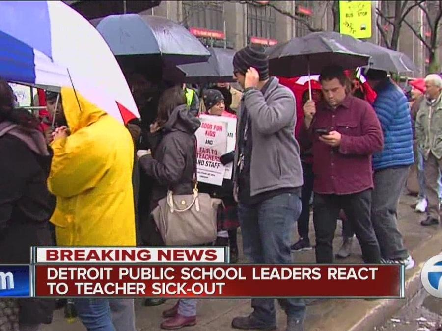 Detroit Public School leaders react to teachers protesting