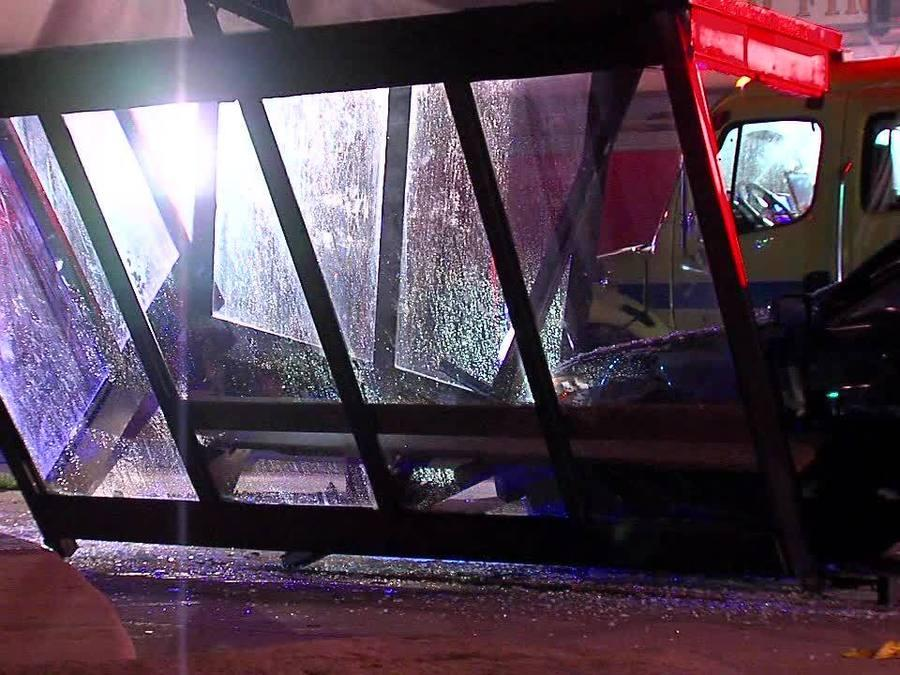 Car into RTA bus shelter