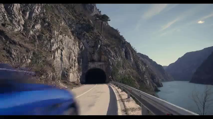 Jaguar F-PACE 2.0 Diesel R-Sport in Blue at the global media drives in Montenegro