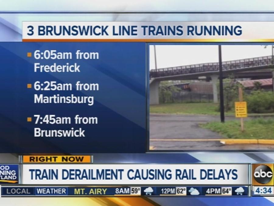 MARC train derailment continues to cause delays