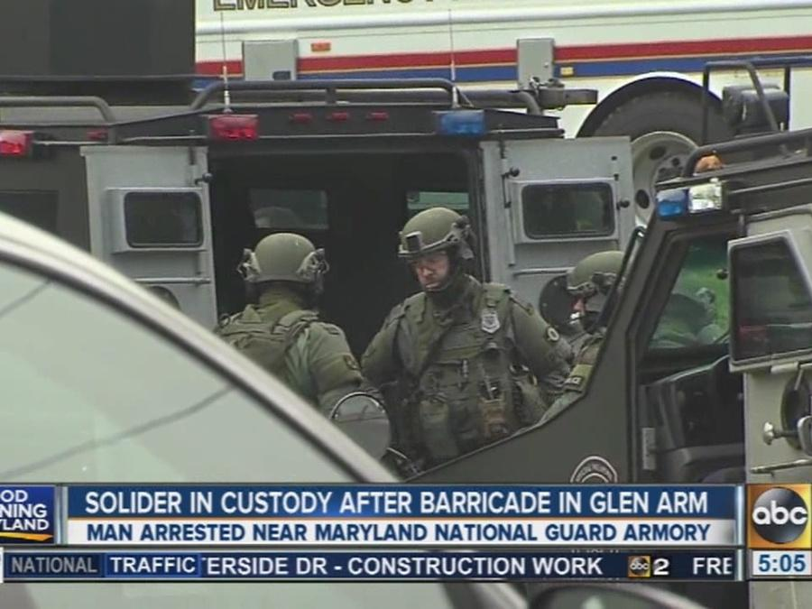 Soldier in custody after barricade situation in Glen Arm