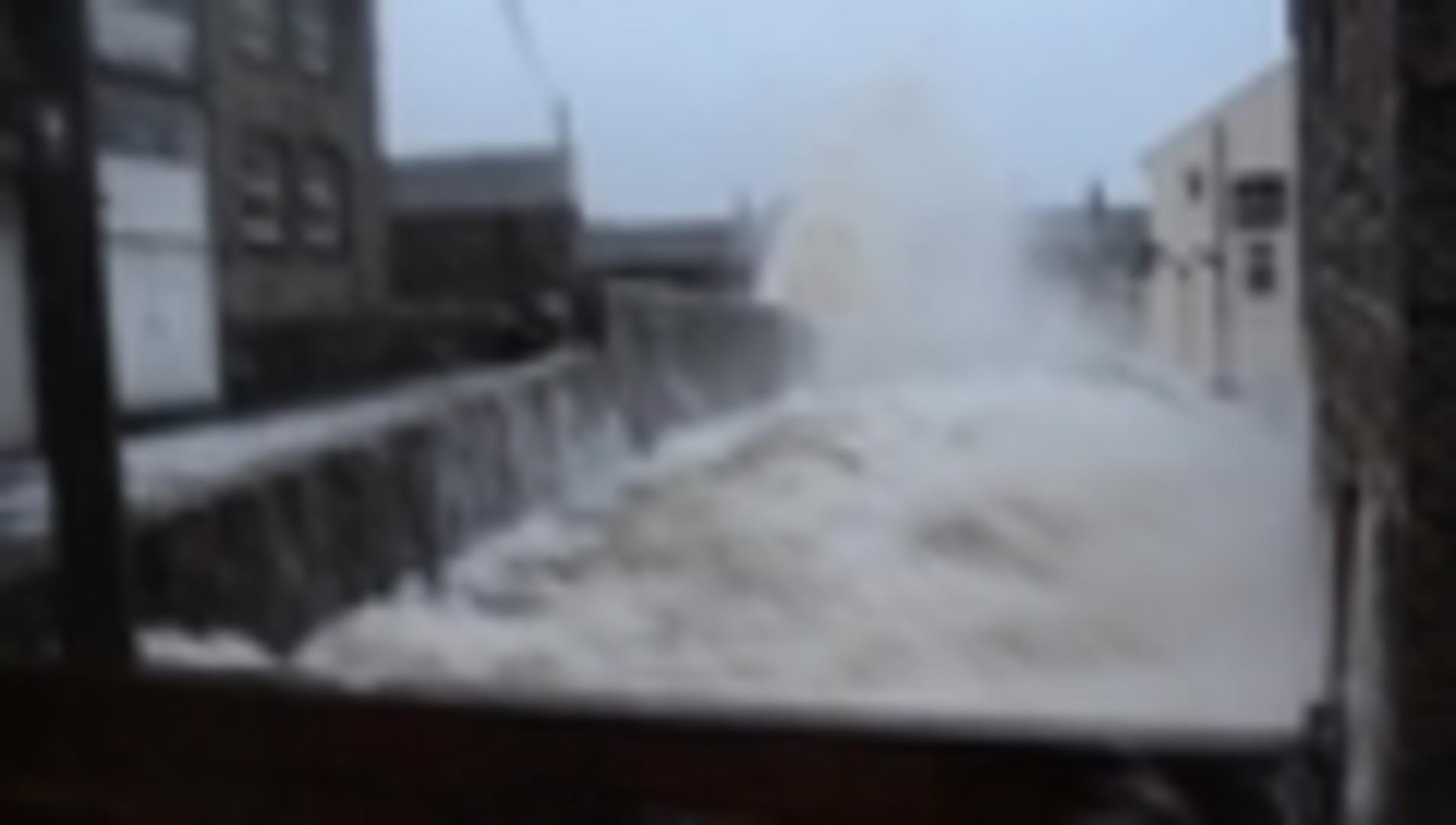 Valentine's Day Storm Crashes Over Newlyn Bridge