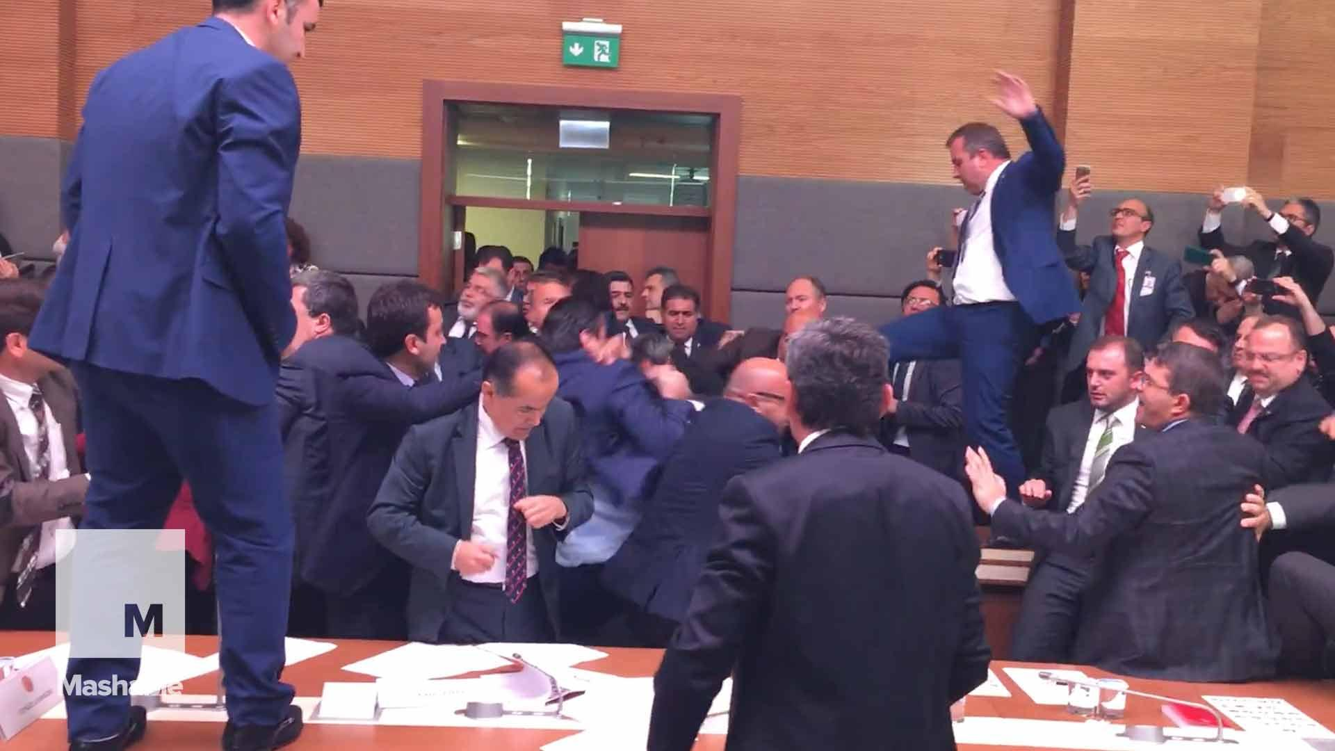 Mass brawl erupts in Turkish parliament over constitutional amendment