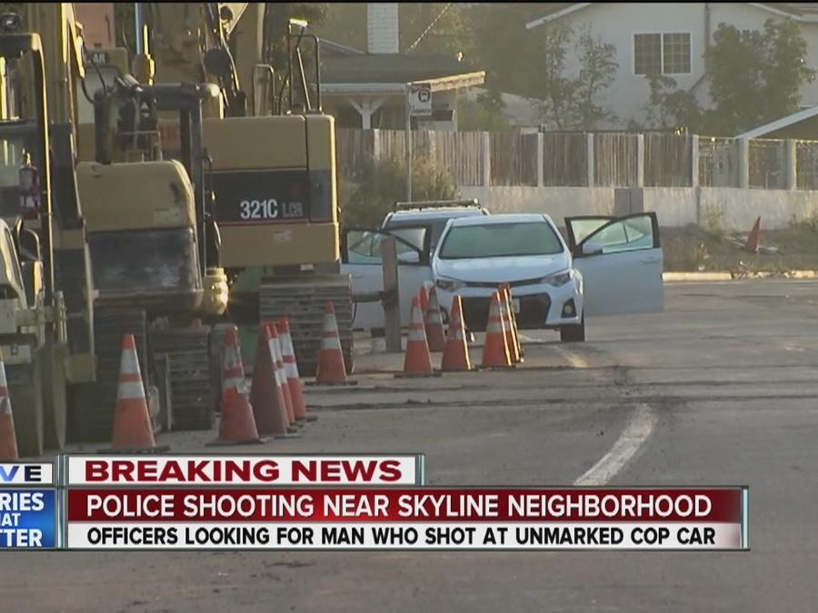 Suspect fires at SDPD car, gunfire exchanged