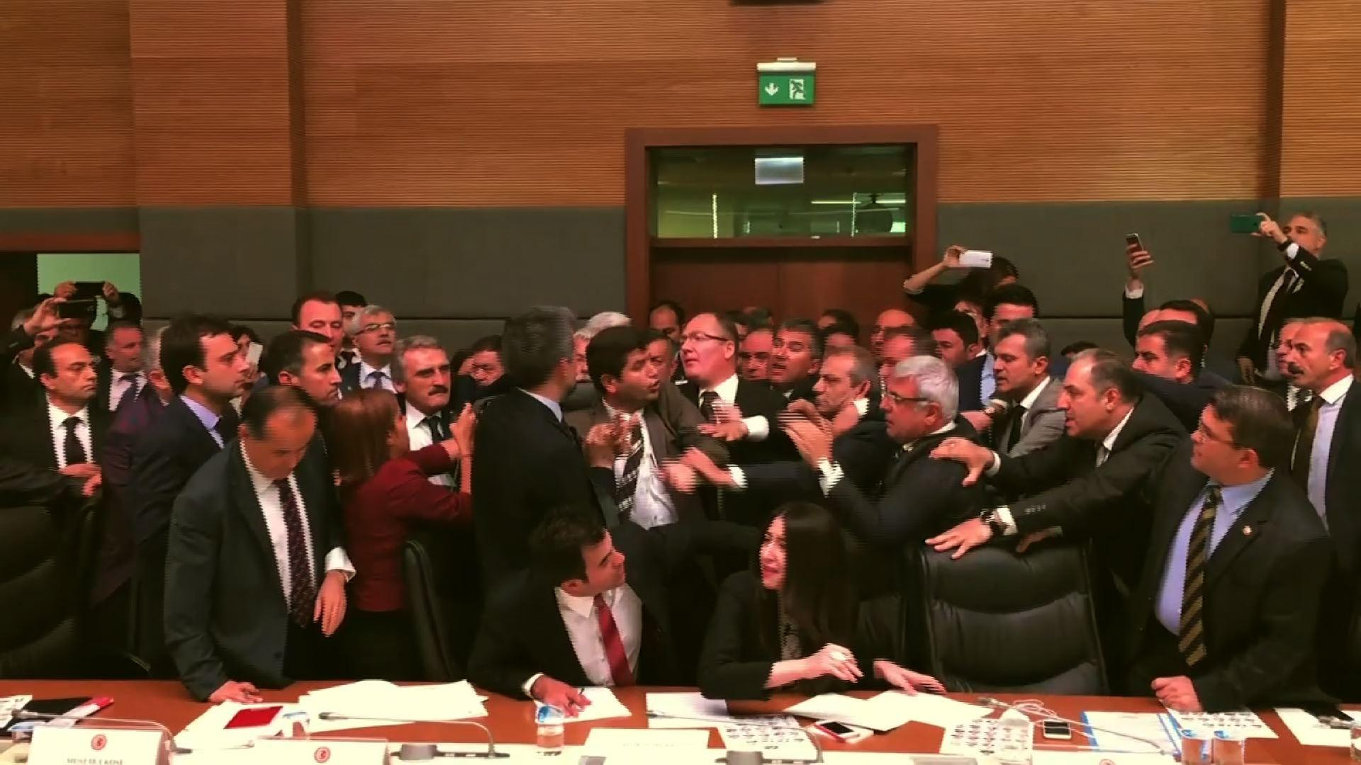 Raw: Epic Fight Breaks Out in Turkish Parliament