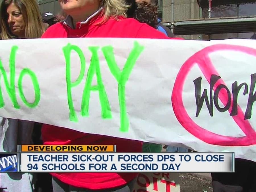 Teachers walk the picket line as lawmakers debate