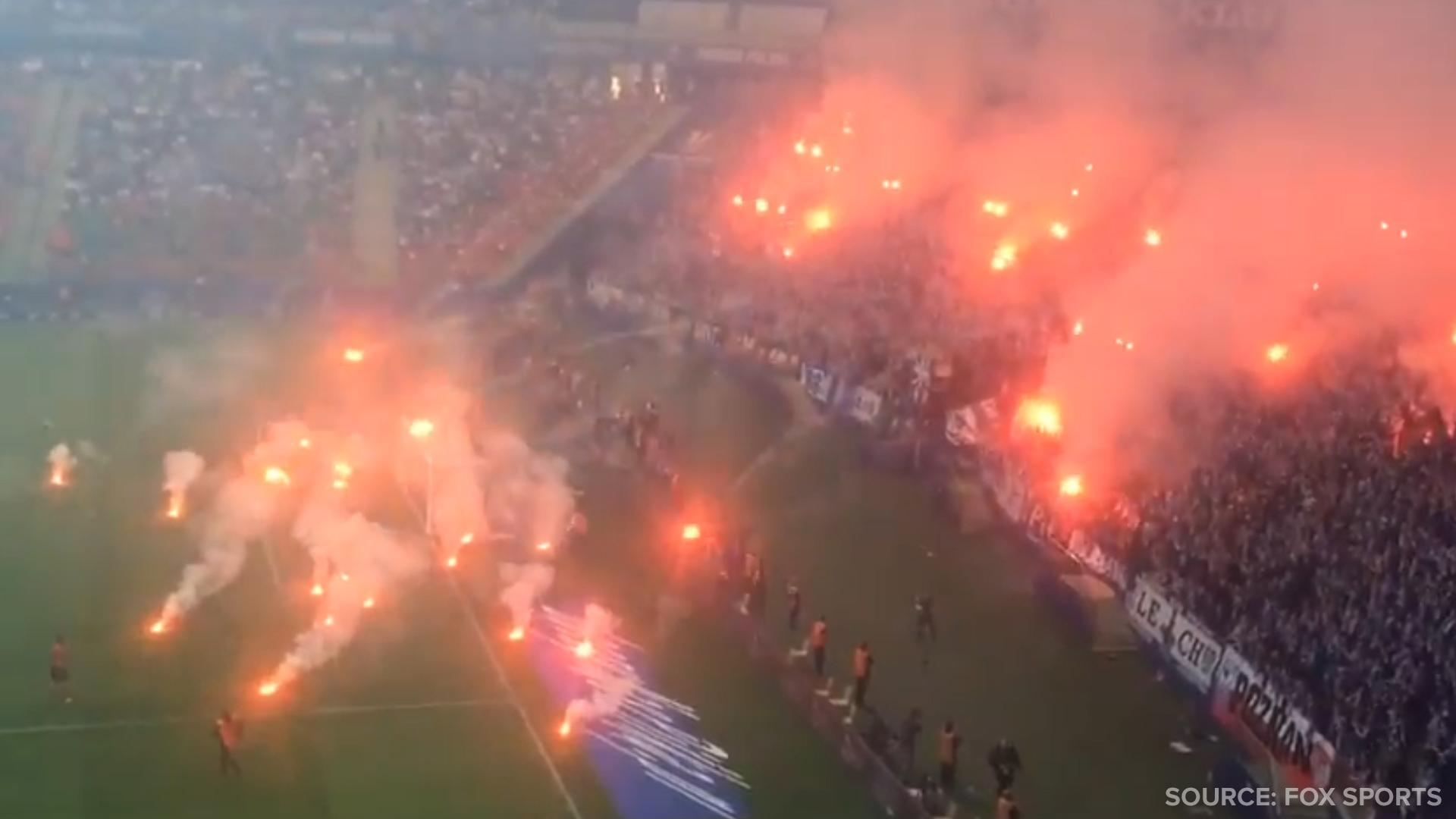 Two Soccer Fan Groups Battled Each Other with Pyrotechnics in the Stadium