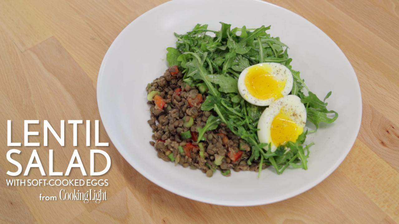 How to Make Lentil Salad with Soft-Cooked Eggs