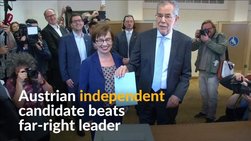 Austrian independent candidate Alexander van der Bellen beats far-right leader Norbert Hofer in presidential election