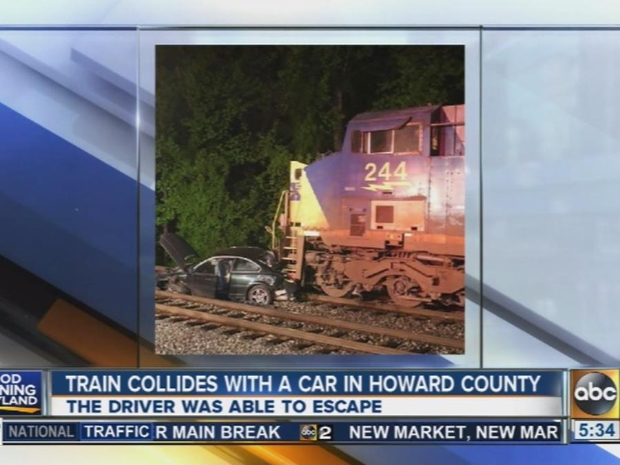 Train collides with a car in Howard County