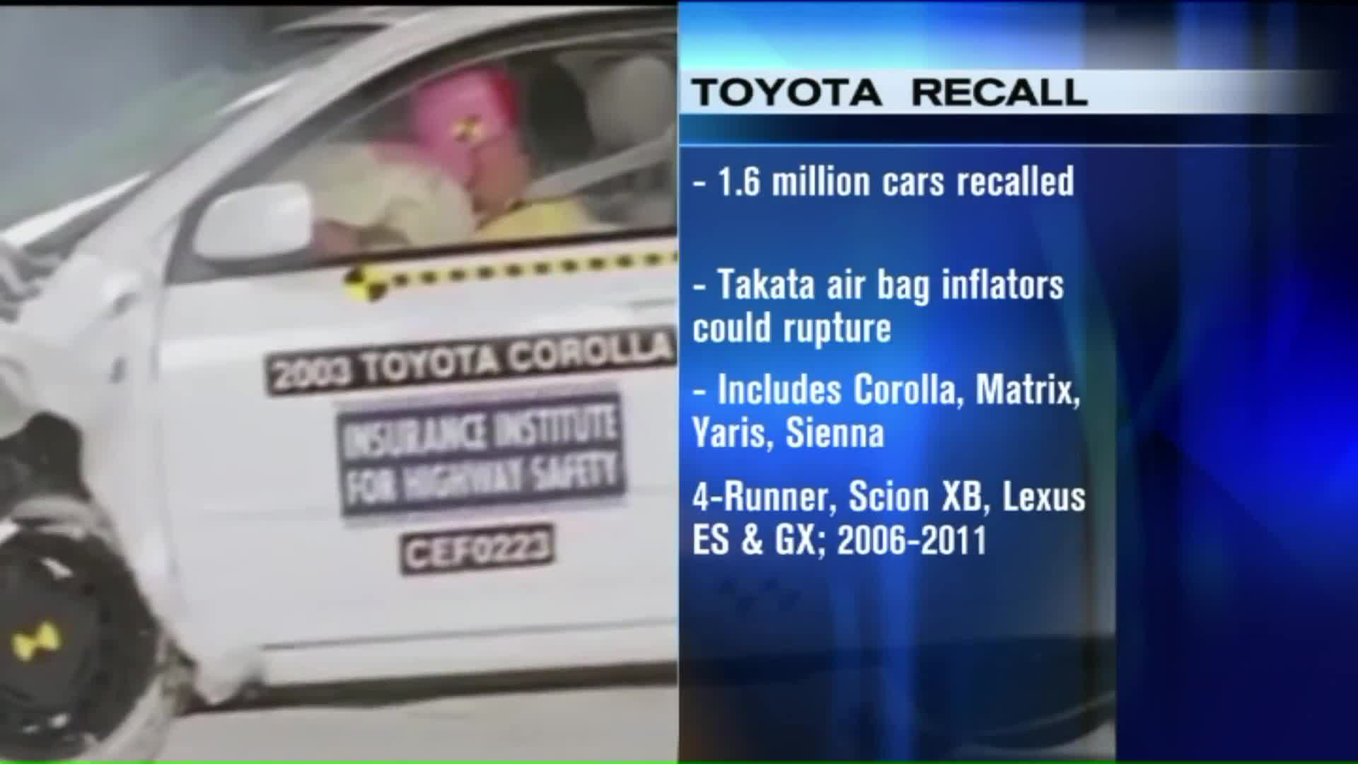 Toyota Adding 1.6 Million Vehicles to Takata Air Bag Recall