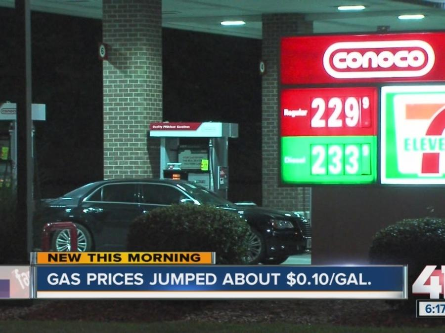 Gas prices jump about $0.10 per gallon