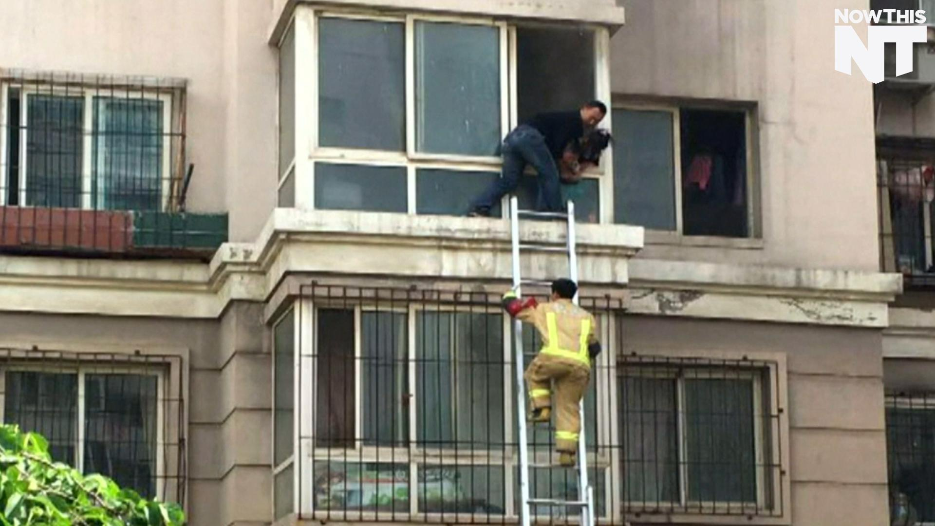 Man Climbs Into Burning Building To Rescue Two Children