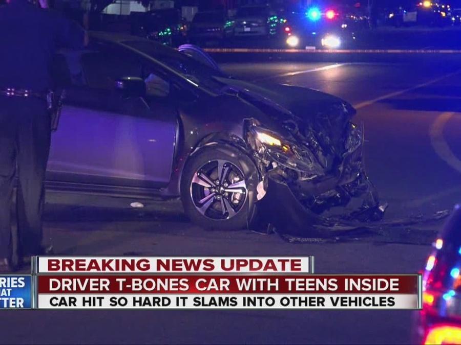 Pursuit suspect T-bones car, 3 hurt