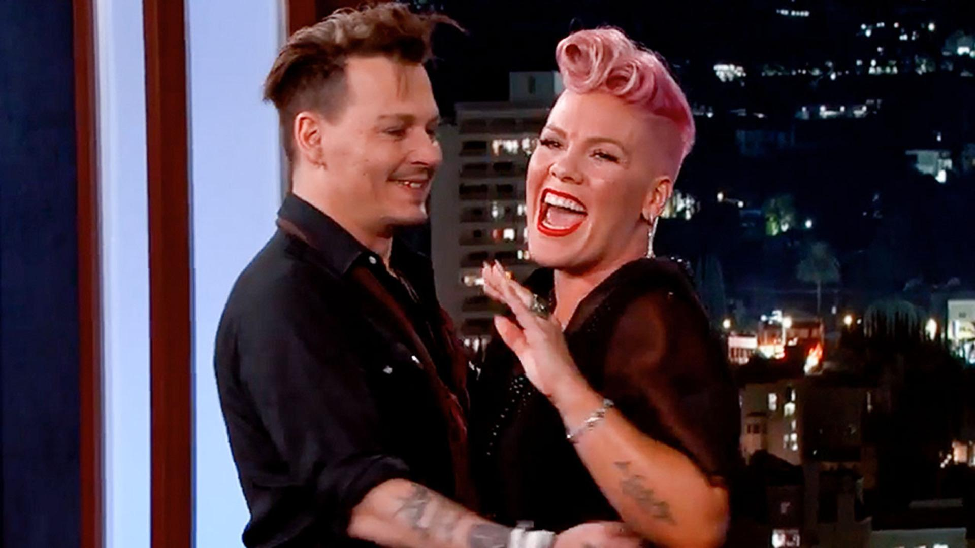 Johnny Depp Surprises Pink on Jimmy Kimmel; Makes Her Blush