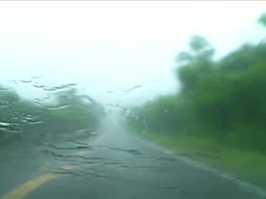 Driving through storm producing heavy rain in Creek County, Oklahoma during Tornado Warning