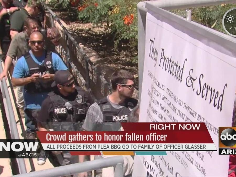 Crowd gathers to honor fallen officer at BBQ