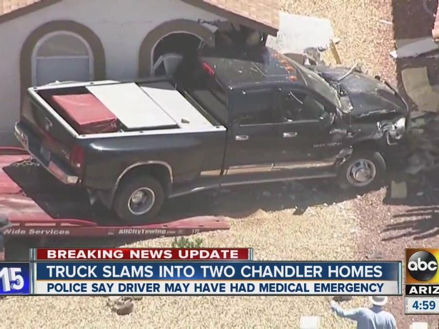 Truck slams into homes in Chandler