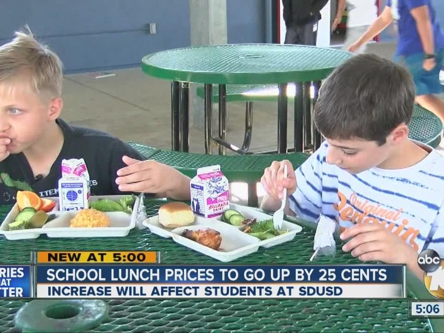 School lunch prices to go up by 25 cents