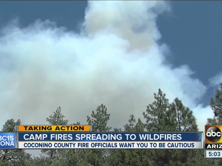 Camp fires spreading to wildfires