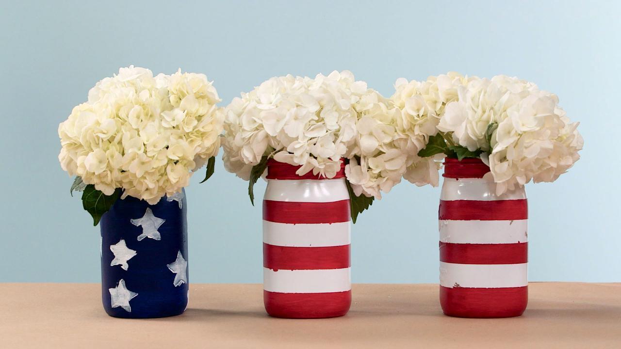 Patriotic Painted Mason Jars