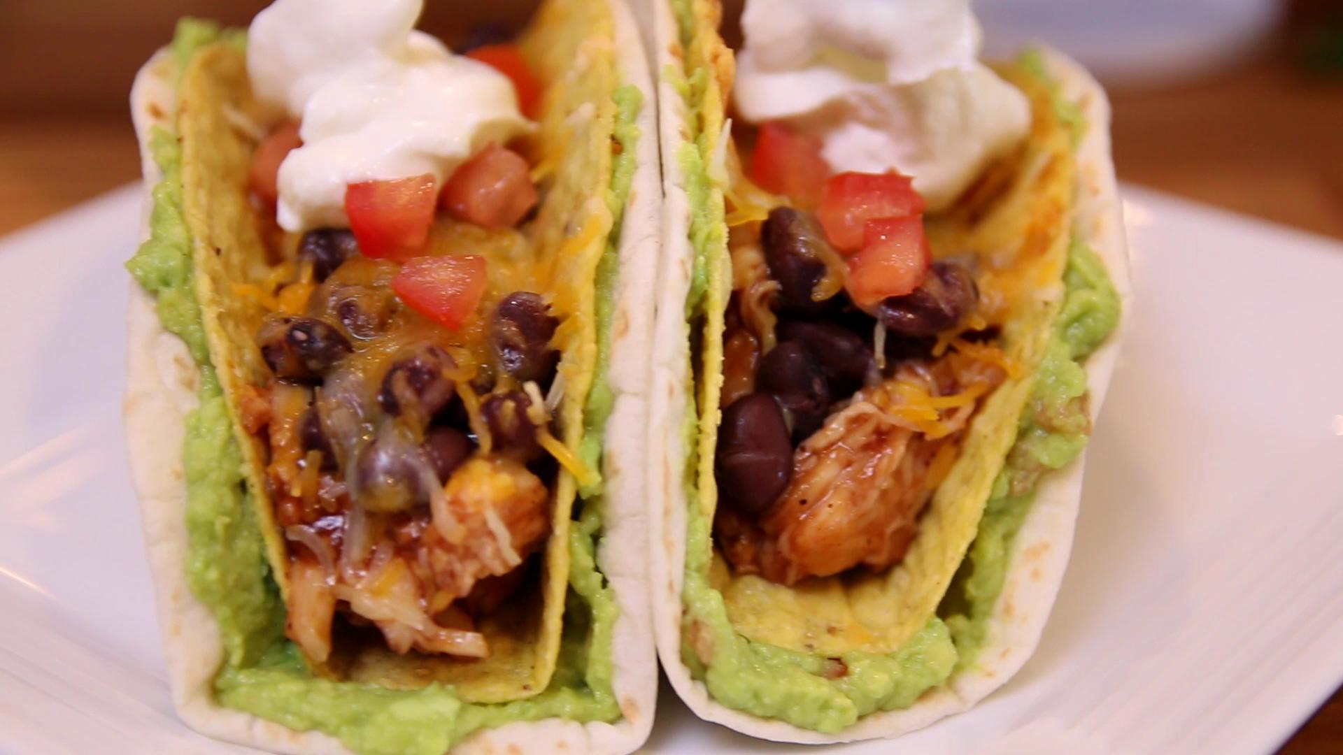 How to Make BBQ Chicken Double Decker Tacos