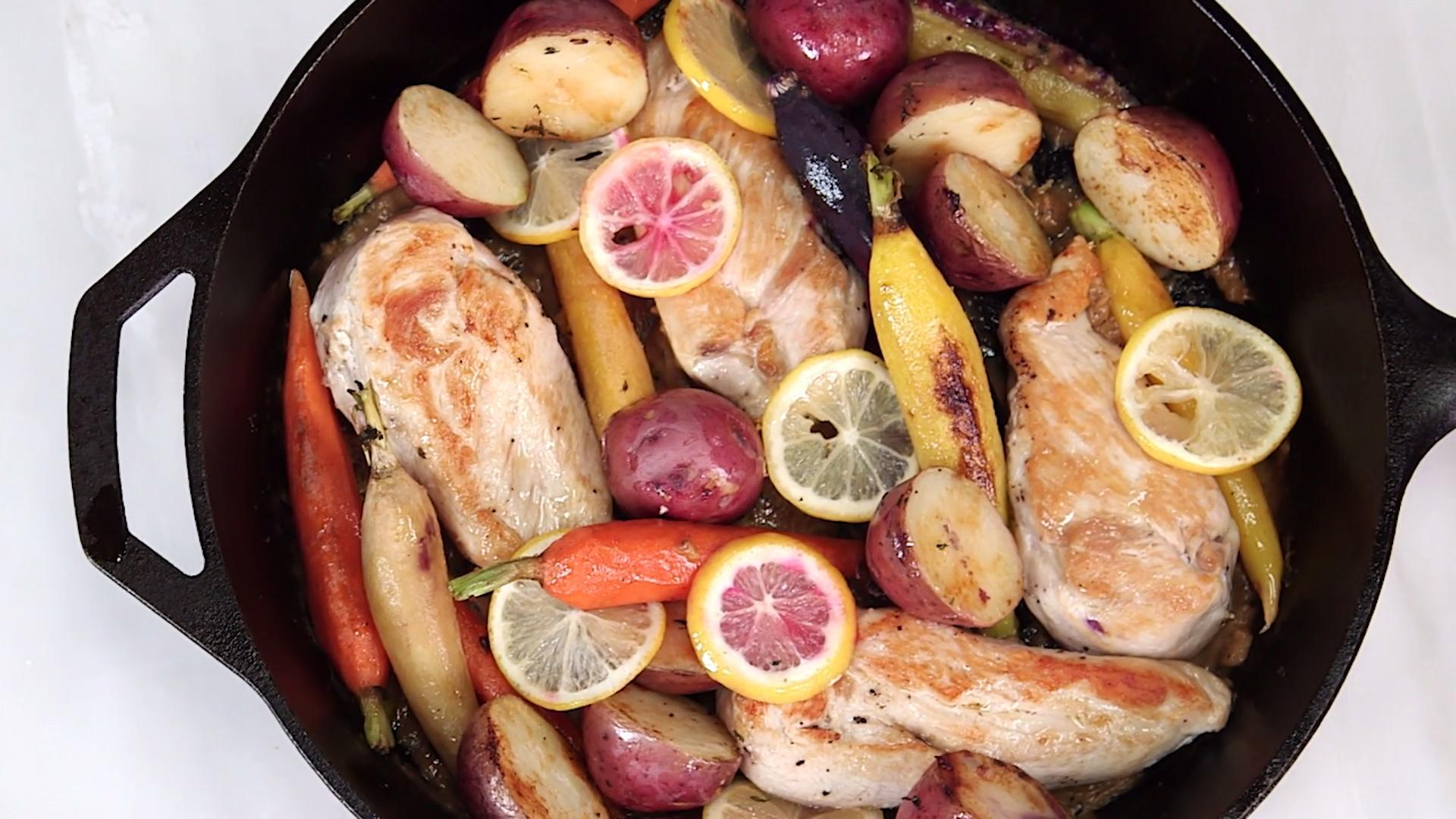 How to Make Skillet Chicken with Roasted Potatoes