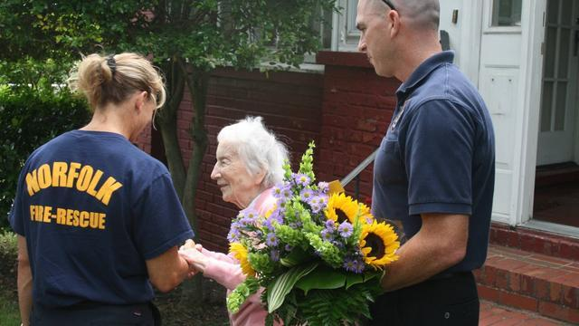 Firefighters Show Up To Celebrate 100-Year-Old's Birthday In Heartwarming Gesture