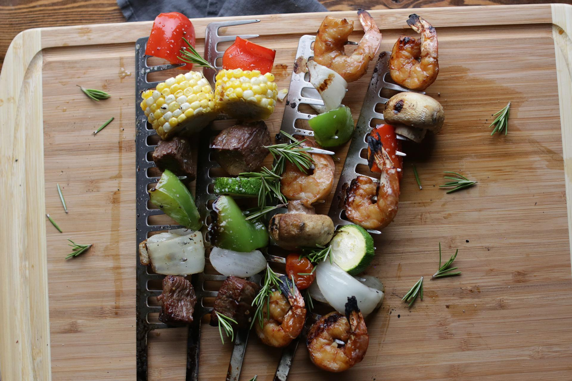 Grilled Beef and Shrimp Kebabs with Veggies